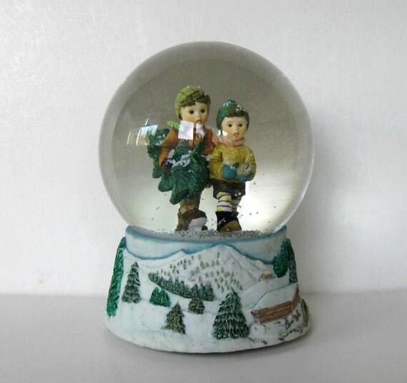 Vintage Musical Snow Globe Hummel Winter