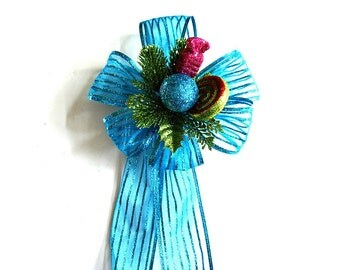 Turquoise glitter gift bow, Unique Christmas gift bow, Holiday tree bow, Large bow for Christmas wreaths, Holiday glitter decoration (C525)