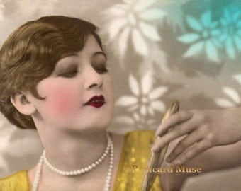 Art Deco Lady With A Mirror - New 4x6 Vintage Image Photo Print - LD004