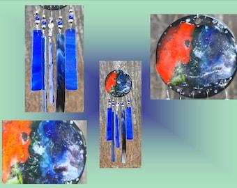 Blue Glass Windchime Galaxy Ceramic Wind Chime, Garden Decor Stained Glass Window Suncatcher Hanging Mobile Pottery