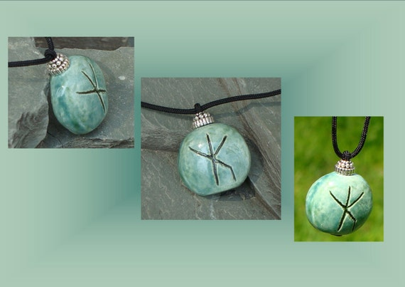 Protection Strength Necklace Bind Rune Ceramic Pendant Teal
