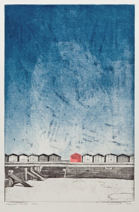 Beach - Seaside Print - Beach Hut at Frinton on Sea - Original Hand Pulled Print - 'Beach Hut' Etching by William White- FREE SHIPPING