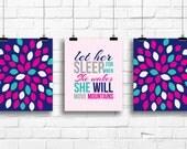 Burst daisies art prints, daisies nursery decor, let her sleep art print, baby girl nursery print, floral girl bedroom decor, A-3061