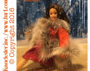 BARBIE-9 Genuine Real Cashmere wrap coat red grey fox fur Barbie Fashion Doll