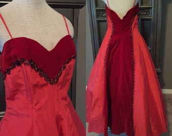 "50s Lipstick Red Emma Domb Formal Party Dress 30""waist"