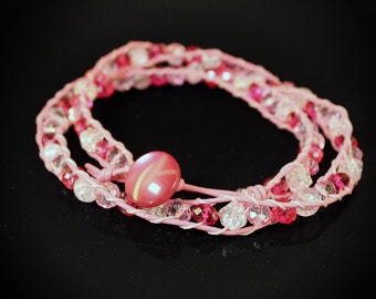 Pink Leather Wrap Bracelet Choker Necklace