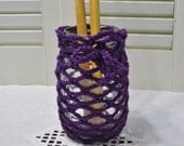 CUSTOM ORDER Crochet Mason Jar Pint Size Candle Holder Flower Vase Desk Craft Room Storage Orange and Purple Littlestsister