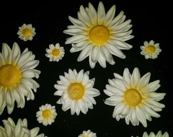 28 Edible DAISY / Variety sizes / gum paste / fondant flowers / sugar flowers / cake or cupcake decorations / cake or cupcake topper