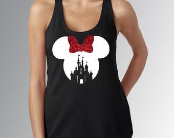 Minnie Mouse Castle Cut Out RED WHITE and Black Tank Top Running Shirt * RunDisney * Run Disney * Racerback * Disneyland/World