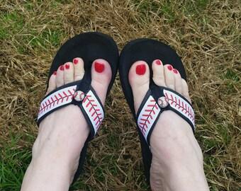 Baseball Flip Flops  Sandals  -Sizes  Small 5 , Med. 6/7, Large 8/9