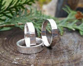 Wood Textured Sterling Silver Ring. 4mm or 5mm Textured Silver Band. Modern and Rustic Unisex Band. Sizes 4.5 - 14. Outdoor Nature Accessory