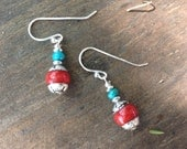 Custom Order For Terry: Tibetan Silver Capped Red Stone Small Earrings