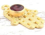 Deep Burgundy, Gold Filigree Hamsa Pendant with Jade Gemstone, Hand of Fatima Pendant, 1 piece // GP-448