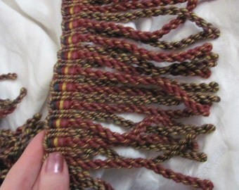"Burgundy Brown Twisted Bullion Fringe Upholstery Trim Rope - 5"" Inch Long - By The Yard"