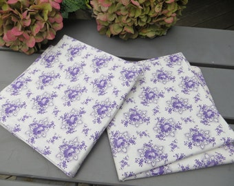 2 Two Cottage Pillowcases Euro Shams White Cotton Lavender Flowers 1950 Vintage Fabric Unused Pair Set of Euroshams Cover Vintage Fabric