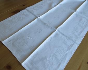 Free Shipp Towel White Silky   Linen Damask Monogram MF  Flowers Kitchen Table  Runner Bathroom Towel Never used Germany 1930