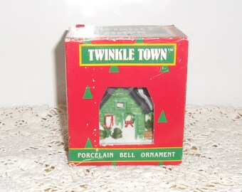 Vintage Christmas Ornament - Twinkle Town Porcelain Bell and Light Cover, House Ornament, Made in Taiwan 1988, Original Box, Never Used