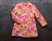 vintage 60s psychedelic quilted floral jacket. mod outerwear. retro clothing.