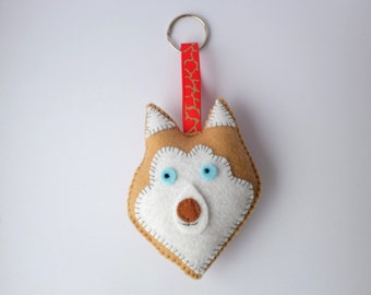 Siberian Husky keyring bag decor