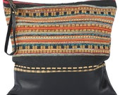 Ponderosa Blk Lg Clutch -Handmade Bohemian Fabric and Leather -Environmentally Conscious- purse/antique/pouch/hand bag/designer/vintage/tote