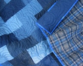 Denim and Blue Plaid Lap Quilt - Quilted Throw - Blue and Gray Flannel and Denim Quilt