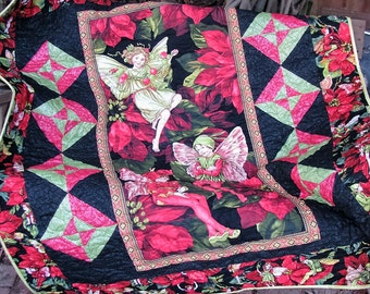 Quilt - Lap Quilt - Christmas Fairies - Fairy Frost Lap Quilt - Table Topper - Wall Hanging - Quilted Sofa Throw