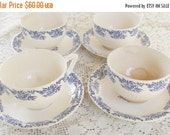 On Sale Antique Blue Willow Pattern Teacups and Saucers, Set of 4, Tea Party, Vintage, Cottage Chic, Replacement China, Mid Century