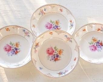 Antique Warwick Coupe Soup Bowls Set of 4, Princess Tea Party, 1940's  Cottage Style, Weddings, Salad Bowls