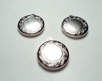 3 pcs - Matte silver plated round Lockets with border design - m188ms