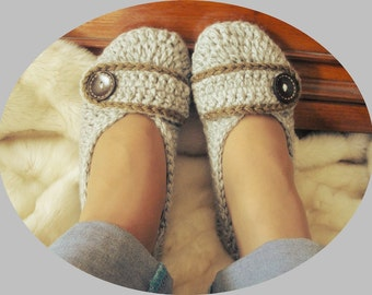 Adult Crochet Slippers / Women Sizes /Home Shoes