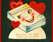 Vintage Valentine Card To the One I Love! Die Cut Stand Up  A-Meri-Card Used