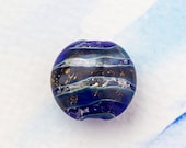 Christmas Sale Electric blue organic handmade lampwork glass bead with fine silver, OOAK