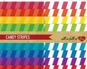 80% off STRIPES Patterns Rainbow Paper 8x11 A4 Digital Scrapbooking to Print Digital Download 12/15
