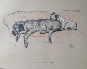 BULL TERRIER Irish Wolfhound Signed mounted 1920 circa Cecil Aldin dog plate print PROPITIATION Collectors item Christmas Thanksgiving