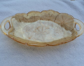 Celery dish/ carnival glass/sunflower pattern/Marigold/two handled