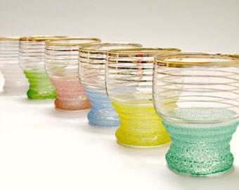 Vintage Set of 6 Multi-Coloured Glasses, Mid-Century Barware