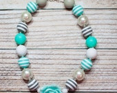Clearance 50% off Aquamarine - chunky necklace in aqua, grey and white