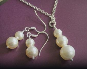 Swarovski Pearl Earring White Necklace Set, Bridal Earring, Bridal Jewelery, Short Dangle Earring, Bridesmaid Necklace Set, Wedding Gift Set