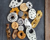 Clearance - Huge Destash Polymer Clay Beads - Clearance Orphan Mixed Lot - Handmade Pendants Donuts Rings - Set of 17 - The Bead Hutch