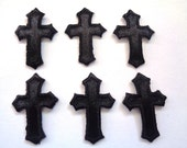 Embroidered Iron On Crosses Appliques, Black, x 6, Embellishment For Scrapbook, Mixed Media, Accessories, Decor, Romantic & Victorian Crafts