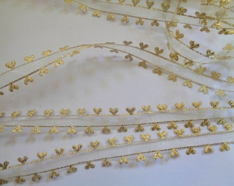 "Sheer Heart Edge Ribbon Trim, Gold, 5/8"" inch wide, 1 yard, For Scrapbook, Mixed Media, Accessories, Gift Baskets, Romantic Crafts"