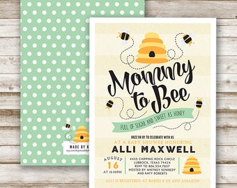 Mommy to Bee Baby Shower Invitation, Personalized, Printable, Yellow, Black, Gender Neutral
