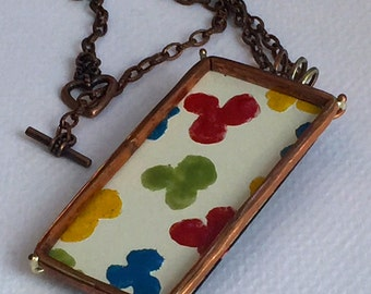 Abstract Flower Necklace, Copper Portrait Frame, Hand Painted Enamel, Modern Impressionist Style Jewelry,