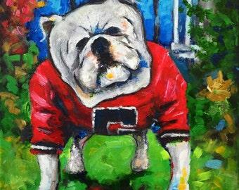 "UGA Painting- Original 11"" x 14""  by artist Matt Wolfe"
