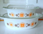 Reserved - Pyrex Town and Country Set Oval Serving Dishes with Lids.   Set of Two Orange Brown.
