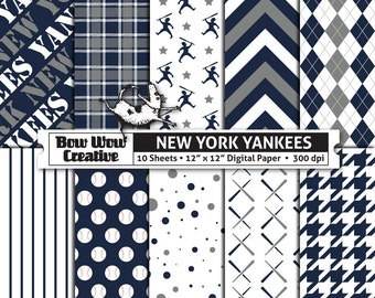 10 New York Yankees Digital Papers for Scrapbooking, Digital Paper, Digital Scrapbook Paper, Printable Sheets, Baseball, Patterns