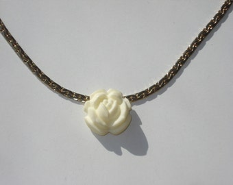 Vintage Rose Necklace Gold Tone with a Cream Carved Flower Pendant - ML Costume Jewelry 1960s