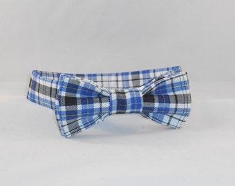 Blue And Black Plaid Men's Adjustable Bow Tie