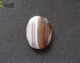 Brown Stripped Agate Calcedony Cabochon oval 19x24x3mm