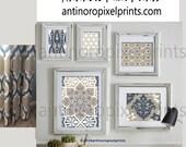 Art Ikat Damask Khaki Grey Blue Creme Modern inspired Art Prints Collection  -Set of (5) - 11x14, 8x10, 5x7 Prints (UNFRAMED) #263028408